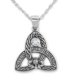 Celtic Silver Pendant 'Scotland Forever' with Blue Topaz 9437